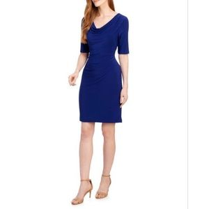 Anne Klein Blue Cowl Neck Sheath Dress